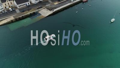 Fishing Boat In Audierne Harbour - Video Drone Footage