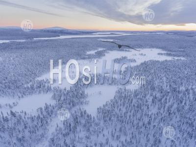 Aerial Drone Photo Of Remote Snow Covered Lake And Winter Landscape In The Dramatic Wilderness Of Lapland, Scandinavia, Finland