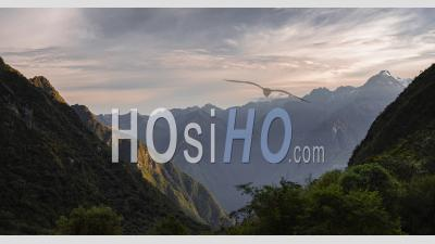Inca Trail Landscape Timelapse Of Andes Mountains In Peru. Time Lapse At Sunset Of Clouds Moving On The Famous Hike To Machu Picchu Through Peruvian Scenery
