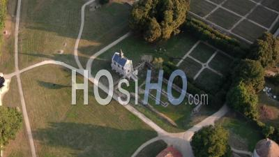 Aerial Footage Of Port-Royal Abbey And Formal Gardens, Seen By Drone