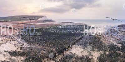 The Seven Sisters Chalk Cliffs, South Downs National Park, East Sussex, England, United Kingdom, Europe - Aerial Photography