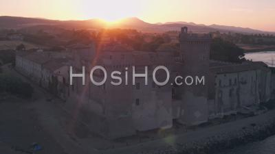 Santa Severa Beach And Castle At Sunrise, Province Of Rome, Italy. Aerial Drone View