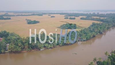 Kerala Backwaters River, Terres Agricoles Et Champs à Alleppey, Inde. Prise De Vue Drone
