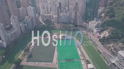 Hong Kong Jockey Club Racecourse And Happy Valley. Aerial Drone View