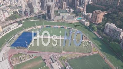 Hong Kong Jockey Club Racecourse In Happy Valley. Aerial Drone View