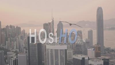 Skyscrapers In The Hong Kong City Skyline At Sunset. Aerial Drone View