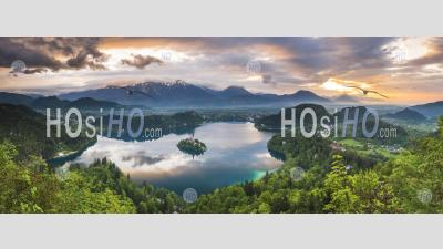 Beautiful Lake Bled And Mountain Landscape Under Dramatic Sunset Sky And Clouds, Julian Alps, Gorenjska, Slovenia, Europe
