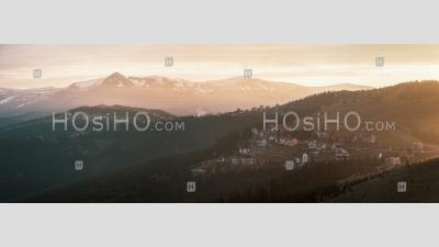 Sunrise At Ranca, A Ski Resort In The Parang Mountains, Carpathian Mountains, Oltenia Region, Romania