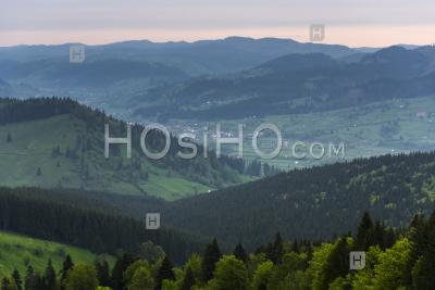 Bukovina Region (bucovina) Landscape At Sunrise, Paltinu, Romania