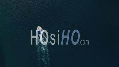 Deep Sea Fishing Boat Trip At Sunrise In The Indian Ocean At Watamu, Malindi, Kenya. Top Down Aerial Drone View