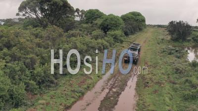 4 Wheel Drive Vehicle Driving Through Muddy Puddle In Aberdare National Park, Kenya, Africa. Aerial Drone On Safari