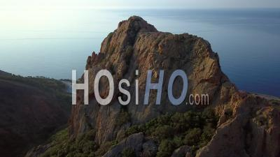Esterel Var Provence Alpes Cote D'azur France Spring - Video Drone Footage Red Rocks Cliffs And Mediterranean Sea