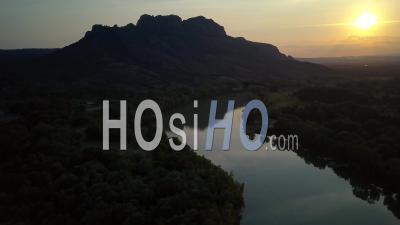 Rocher De Roquebrune Var Provence Alpes Cote D'azur France Sunset Lake Argens River - Video Drone Footage