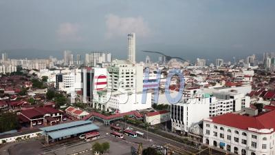Traffic Near The Rapid Penang Bus Station - Video Drone Footage