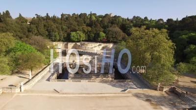 Jardins De La Fontaine, In Nimes - Video Drone Footage