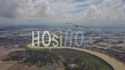 Vue Aérienne De La Courbe Sungai Muda Avec Rizière Inondée. - Vidéo Par Drone