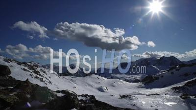 Timelapse Isola 2000 Alpes Maritimes France Snow Mountain Clouds And Sun Winter