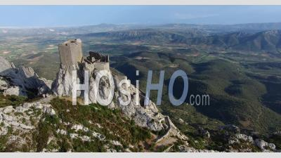 Castle Of Queribus, Ancient Hilltop Stronghold, Languedoc-Roussillon, France By Drone