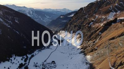 Aerial Footage Of The Vanoise National Park During Winter And Snowy Mountains Seen From Drone
