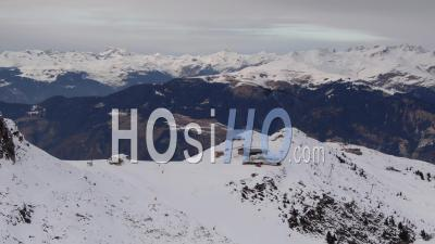 Aerial Footage Of Courchevel Ski Resort And Deserted Ski Slopes While Covid-19 Lockdown, Filmed By Drone