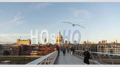 London Hyperlapse Timelapse, Hyper Lapse Time Lapse Of People Walking Over St Pauls Cathedral And Millennium Bridge, The Central London Iconic Landmark Building In England, United Kingdom