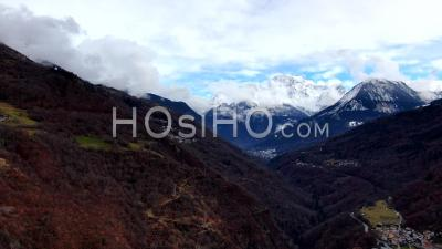 Aerial Footage Hyperlapse Of Clouds Dancing Over The Grand Bec Mountain In Front Of Courchevel, Seen By Drone