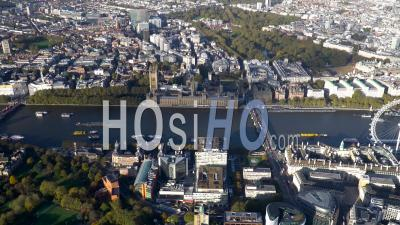 Westminster, Houses Of Parliament, River Thames And South Bank, London, Filmed By Helicopter