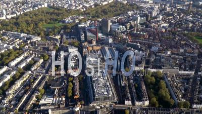 Victoria Railway Station And Buckingham Gate, London, Filmed By Helicopter
