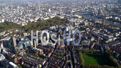 Victoria Railway Station And Buckingham Gate, Looking Towards Mayfair, London, Filmed By Helicopter