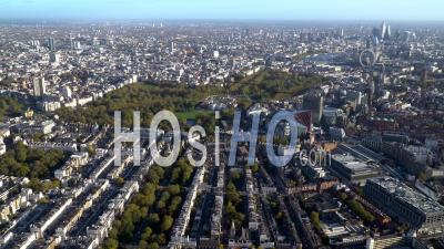 Victoria Looking Towards River Thames, Buckingham Palace And Mayfair, London, Filmed By Helicopter