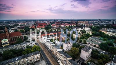 Ostrow Tumski, Cathedral Of St. John The Baptist, Katedra Swietego Jana Chrzciciela, Old Town, Stare Miasto, Wroclaw - Video Drone Footage