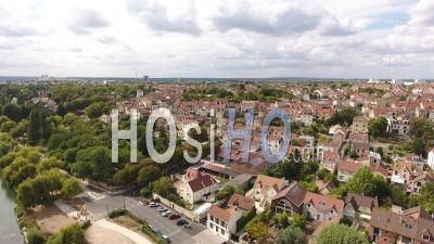Carrieres-Sur-Seine, Village Suburb Of Paris - Video Drone Footage