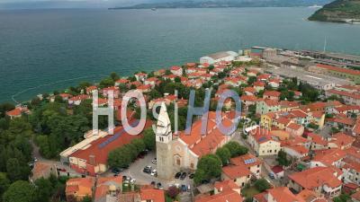 Piran, Slovenia. Adriatic Sea - Video Drone Footage