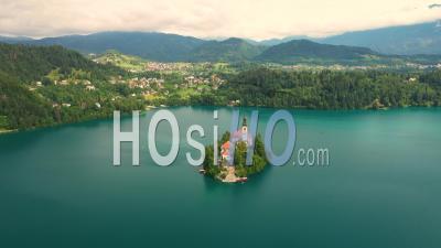 Lake Bled, Slovenia. Parish Church Of St. Martin - Video Drone Footage