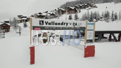 Deserted Chair Lift In Empty Ski Resort In France, Covid 19 - Video Drone Footage