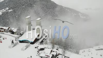 Deserted Ski Resort In France, Covid 19 - Video Drone Footage