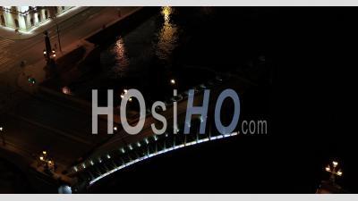 Trinity Bridge, Saint Petersburg Is Raised At Night. Neva River - Video Drone Footage