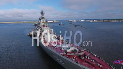 Russian Battlecruiser Pyotr Velikiy - Video Drone Footage