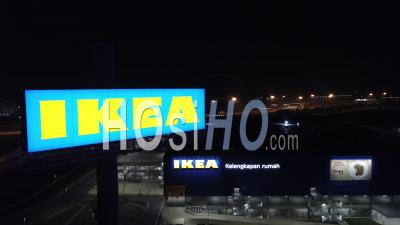 Aerial Look Down Ikea Store Is Closed During Lock Down - Video Drone Footage