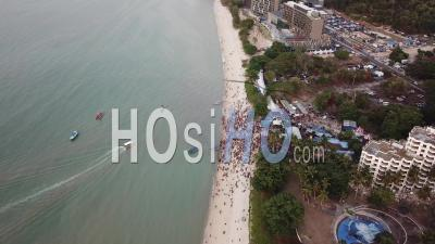 Aerial View A Boat Arrive Floating Chariot Festival At Teluk Bahang - Video Drone Footage