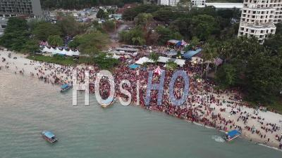 Thousand Of Devotees Attend Indian Religious Event Floating Chariot Festival - Video Drone Footage