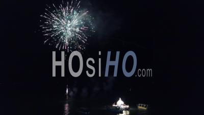 Aerial View Fireworks Display - Video Drone Footage