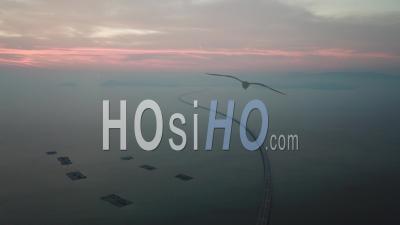 Aerial View Sultan Abdul Halim Muadzam Shah Bridge In Twilight - Video Drone Footage
