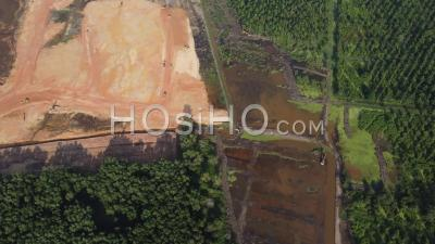 Aerial View Site Development And Oil Palm Clearing - Video Drone Footage