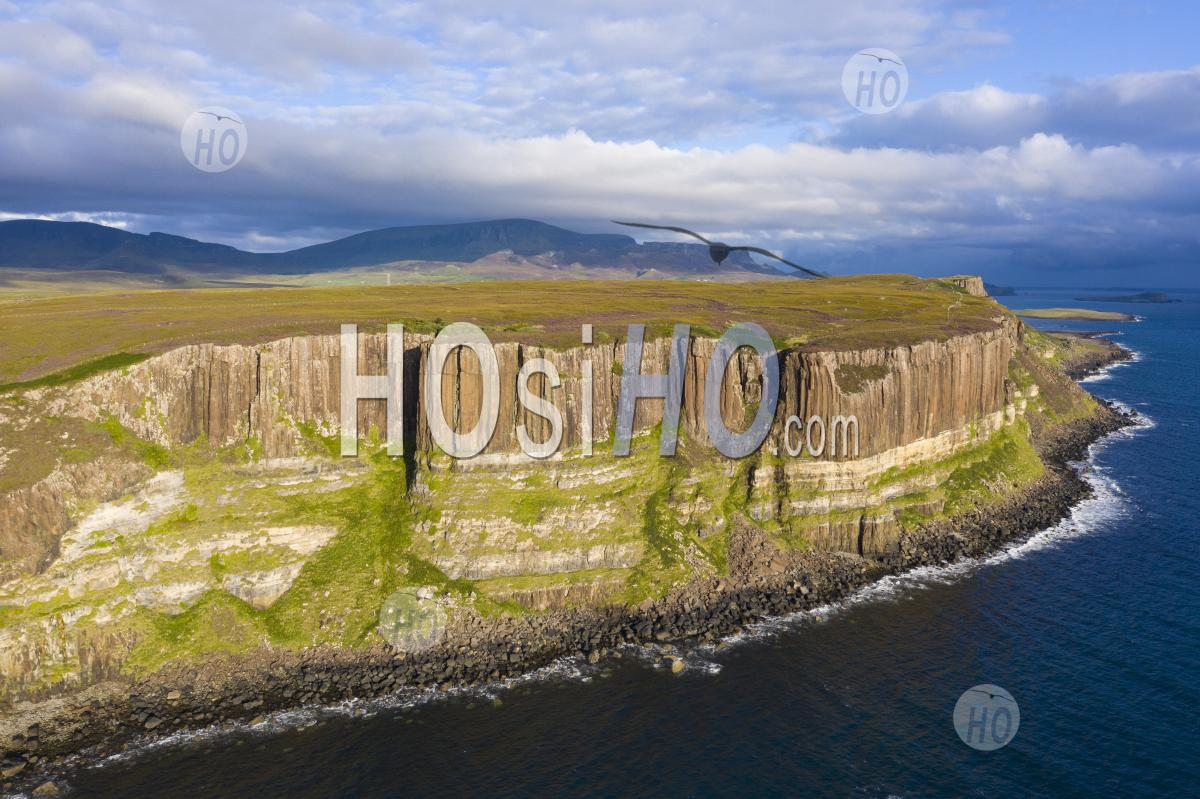 Aerial View Of Sea Cliffs Called Kilt Rock At Staffin On Trotternish Peninsula On Isle Of Skye, Scotland, Uk - Aerial Photography