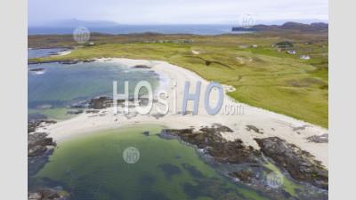 Aerial View Of Sanna Beach On Ardnamurchan Peninsula , Highland Region, Scotland, Uk - Aerial Photography
