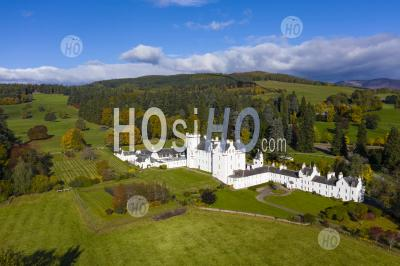 Aerial View Of Blair Castle In Blair Atholl Near Pitlochry, Perthshire, Scotland, Uk - Aerial Photography