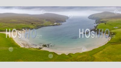 View Of Beach At Burra Firth On The Burra Firth On Island Of Unst, Shetland, Scotland, Uk - Aerial Photography