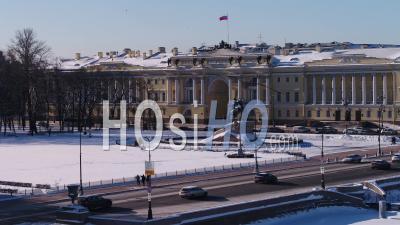 Bronze Horsman In St.Petersburg Aerial View Winter - Video Drone Footage