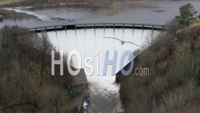 Aerial Footage Of Spillway At Castlehill Dam And Reservoir At Glen Devon, Scotland, Uk - Video Drone Footage